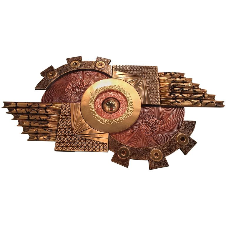 Mixed Metals Brutalist Wall Sculpture in the Style of Curtis C. Jere, Brass