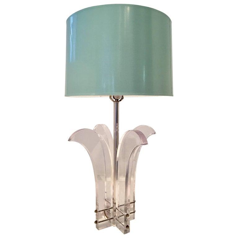 "1970'S Lucite & Chrome Sculptural ""Palm"" Lamp For Sale"
