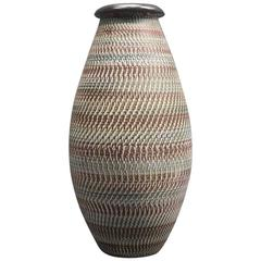 Early Contemporary Tall Hand Made Hand Painted Vase Earth Tones, 1950