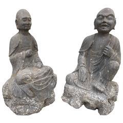 Chinese Antique Limestone Pair Monks Joyful Ananda and Kasyapa, 19th Century