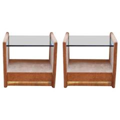 Pair of Karl Springer Suede End Tables