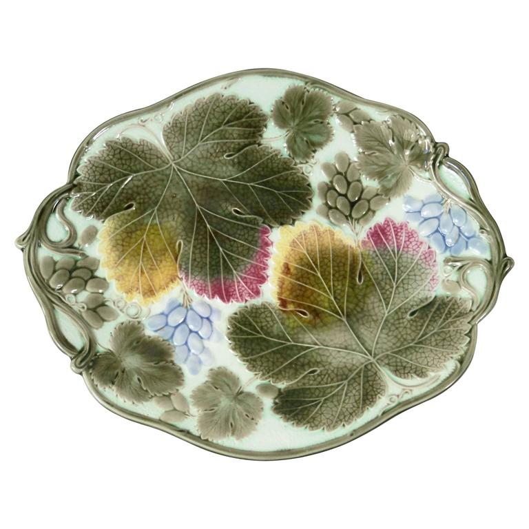 19th Century Majolica Grapes Wedgwood Platter
