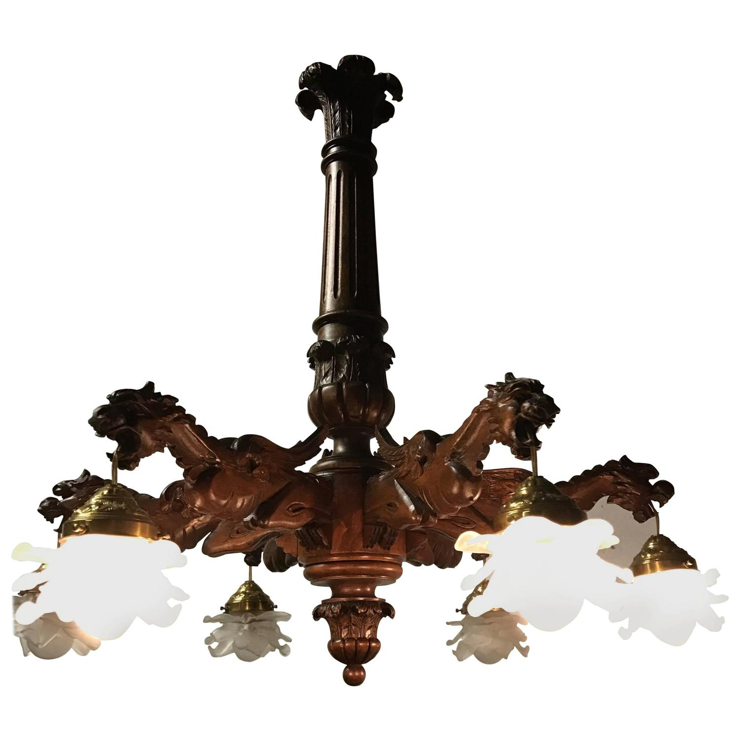 Six Light Gothic Form Reclaimed Wood Chandelier For Sale at 1stdibs
