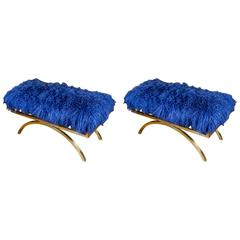 Pair of Blue Mongolian Lambskin Benches