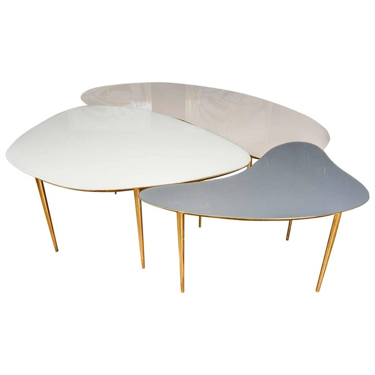 Set of Three Mirror Top Tables For Sale