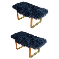 Pair of Mongolian Lambskin Benches