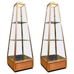 Original Pair of Obelisk Vitrines