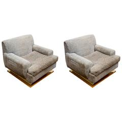 Pair of Brass Basement Vintage Armchairs
