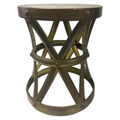 Seng Of Chicago Swivel Wicker And Iron Bar Stools At 1stdibs