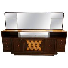 Monumental Italian Sideboard and Mirror by Osvaldo Borsani