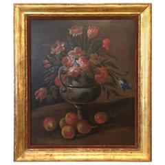 19th Century Continental School Still Life of Flowers and Oranges