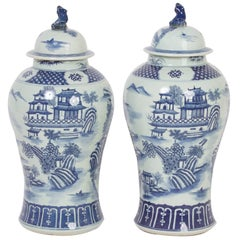 Traditional Chinese Export Style Porcelain Lidded Jars