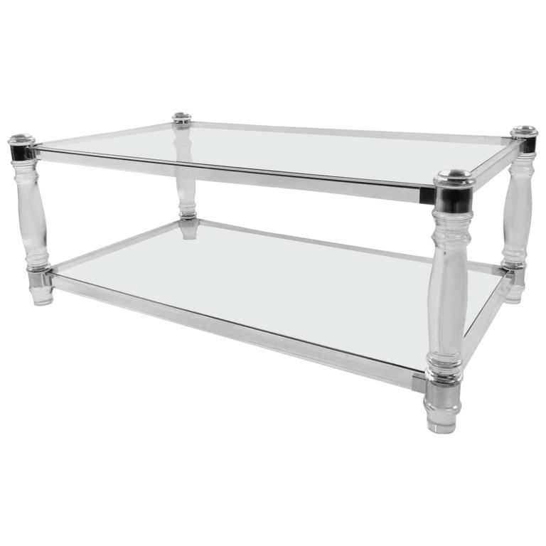 Contemporary Modern Lucite And Chrome Coffee Table For Sale At 1stdibs
