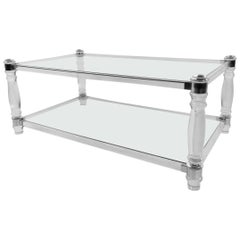 Modern Lucite and Chrome Coffee Table after Charles Hollis Jones