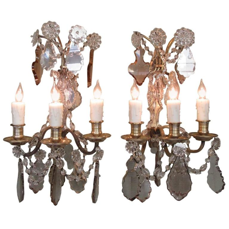 Pair of Early 20th Century French Louis XIV Crystal and Bronze Sconces