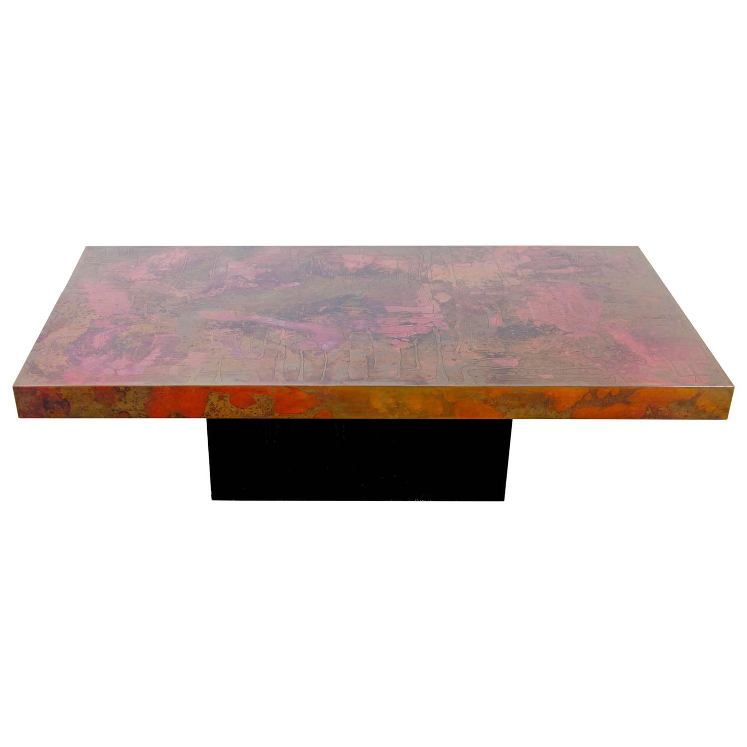 Etched and Fire Oxidized Copper Coffee Table by Bernhard Rohne
