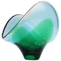 Large Mid-Century Modern Murano Italian Sommerso Art Glass Bowl in Blue & Green