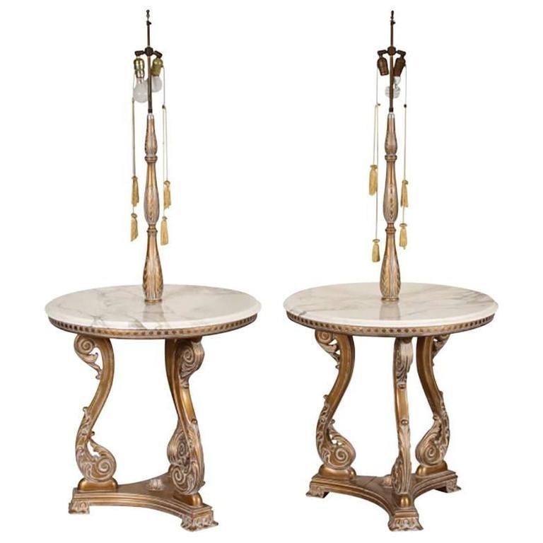 Pair of Round Marble-Top Hollywood Regency Lamp Tables