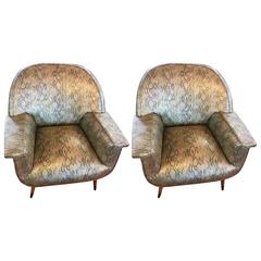 Pair of Italian Mid-Century Modern Club Chairs with Faux Snake Skin