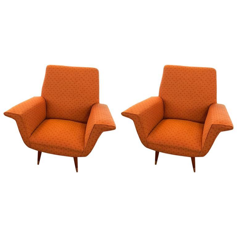 Pair of Italian Mid-Century Armchairs / Club Chairs