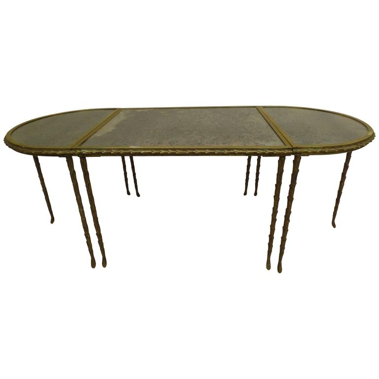 French Mid-Century 3 Part Gilt Bronze Faux Bamboo Coffee Table by Maison Baguès
