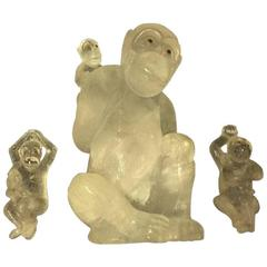 Hand-Carved and Hand-Polished Rock Crystal Monkey Set