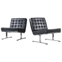Karl-Erik Ekselius Scandinavian Modern Chrome and Leather Chairs Model F-6