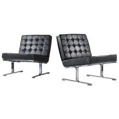 Karl-Erik Ekselius Scandinavian Modern Chrome and Leather Chairs Model F-6