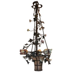 French Bronze Bow Top Frosted Basket Three-Light Porcelain Flowers Chandelier
