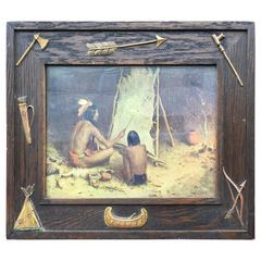 Antique Wooden Native Indian Design Picture Frame with Teepee Canoe Tomahawk Etc
