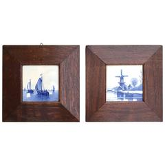 Pair of Hand-Painted Delft Blue Tiles in Picture Frame Landscape and Seascape