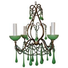 Wonderful Four-Light Green Opaline Beaded Tole Glass Italian Chandelier Fixture