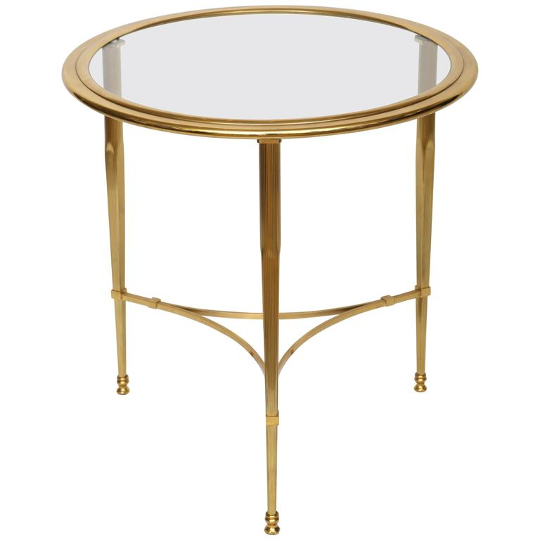 Round French Brass Glass Top Side Table For Sale At 1stdibs