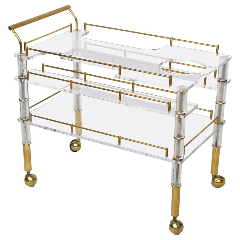 Lucite and Brass Bar Cart on Casters in the Style of Hollis Jones