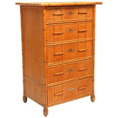 Superb Edwardian Bamboo Chest of Drawers