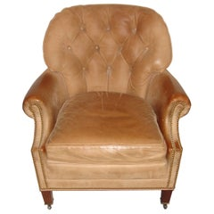 Hancock & Moore Leather Tufted Back with Nailhead Design Armchair
