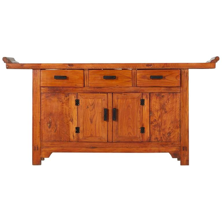 Asian Style Camphor Alter Cabinet Or Console, Circa 1960 For Sale