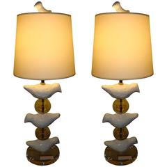 Pair of Mid-Century Modern Lucite Lamps Depicting Birds with Bird Finial