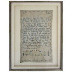 """18th Century """"The Articles of the Christian Faith"""" French Sampler"""