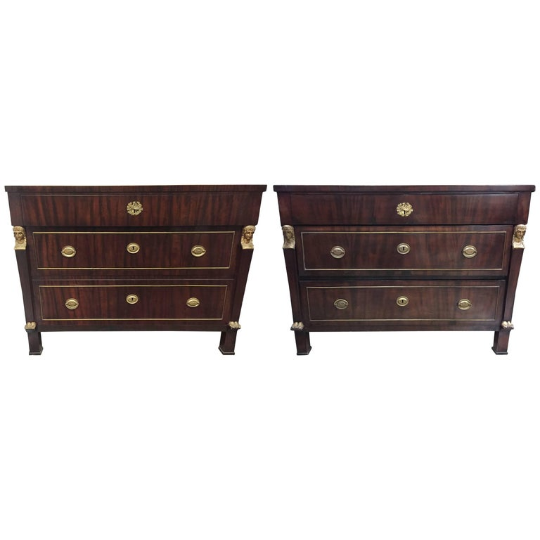 Pair of French Empire Style Mahogany Commodes, 19th Century