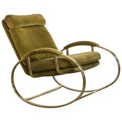 Exquisite Brass Rocking Chair Attributed to Romeo Rega