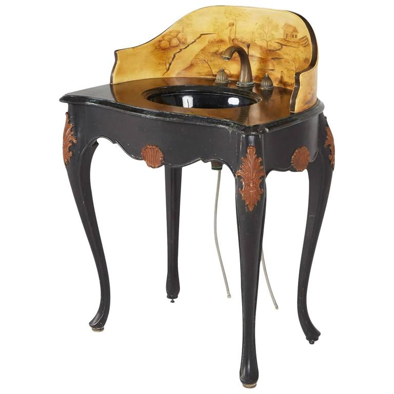 Custom Hand Painted Italian Style Marble Top Pedestal Sink For Sale