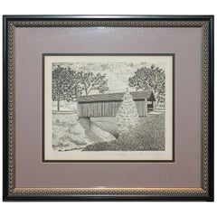 Original Signed and Numbered Etching of Cream Ridge, New Jersey