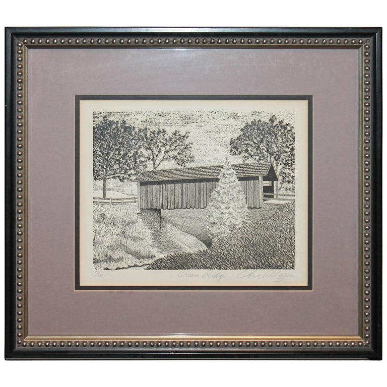 Original Signed and Numbered Etching of Cream Ridge, New Jersey For Sale