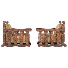 Carved Tiki Arm Chairs by William Westenhaver for WITCO, Pair, circa 1950