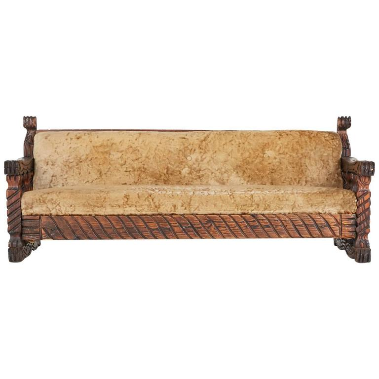 Carved Tiki Arm Sofa By William Westenhaver For Witco