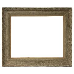 Mid-20th Century, Wormy Chestnut Modernist Style Painting Frame with Linen Liner