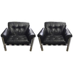 Pair of Leather and Chrome Lounge Chairs