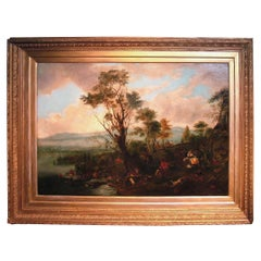 19th Century Oil on Canvas 'A Stag Hunt' after Philip Wouwermans