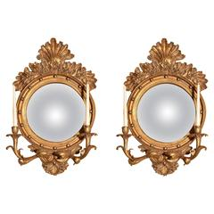 Pair of Italian Gilded Convex Mirror with Candleholders